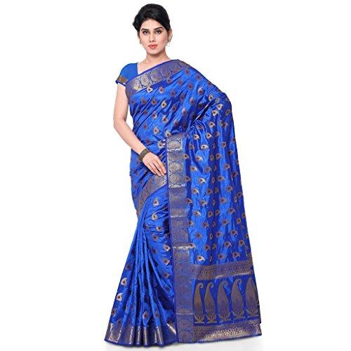 Varkala Silk Sarees Women's Art Silk Banarasi Saree With Blouse Piece(ND1018RB_Blue_Free Size)