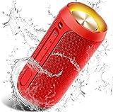 Cassa Bluetooth, COOCHEER Altoparlante Bluetooth Portatili 24W con Luce per Feste, Waterproof IP68 con Microfono, Fino a 20h di Autonomia,TWS Audio Stereo 360 per Smartphone(Rosso)