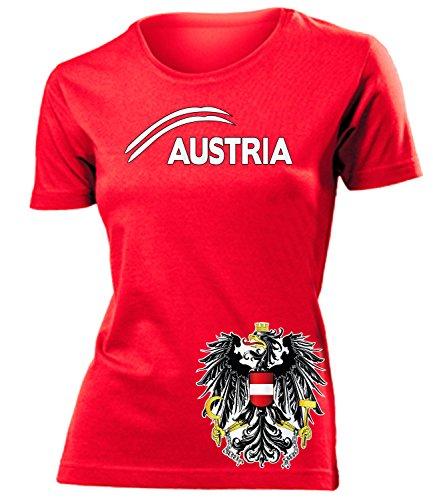 Österreich 5084 Fussball Fanshirt Fan Shirt Tshirt Fanartikel Artikel Frauen Damen T-Shirts Rot S
