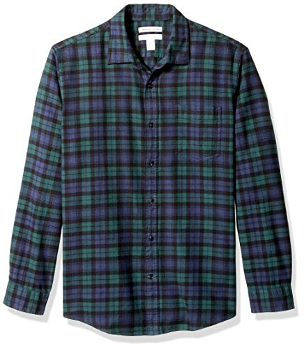 Amazon essentials - camicia da uomo, a maniche lunghe, vestibilità standard, a quadri, in flanella, verde (black watch plaid), us m (eu m)