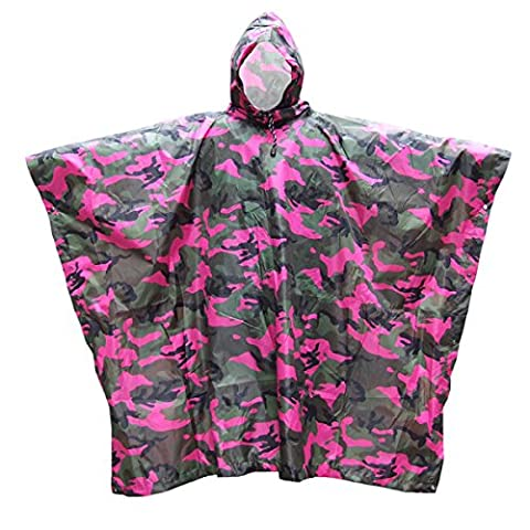 Pixnor Camouflage Hooded Raincoat Poncho Rainwear for Climbing Hiking Camping Cycling (Rosy)