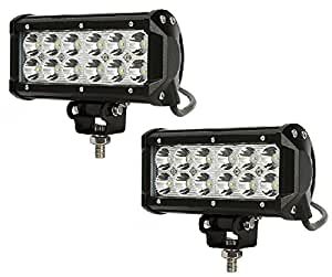 RIDAR Car 12 LED Rectangle White Off Road Spot Beam Light Fog Aux Light Set of 2 for Honda Amaze New