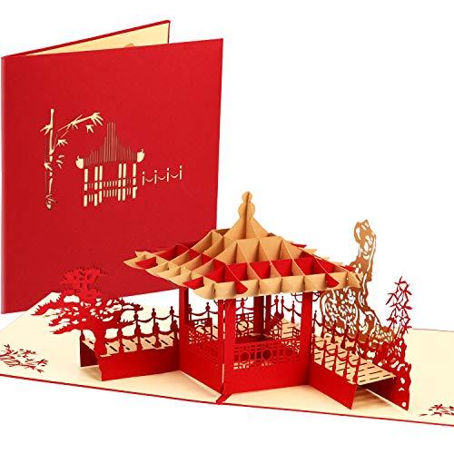 Satinior 2 pezzi pop up del padiglione cinese 3d biglietti d'auguri di capodanno biglietti d'auguri per festa di san valentino del ringraziamento