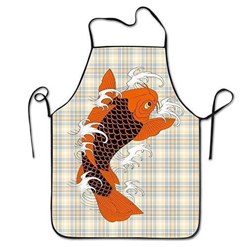 Hip Hop Apron Red Water Fish Carp Canvas Professional Bib Apron For Women Men Adults Waterproof Natural Sexy Aprons For Women Funny Aprons (Rv Canvas-abdeckungen)