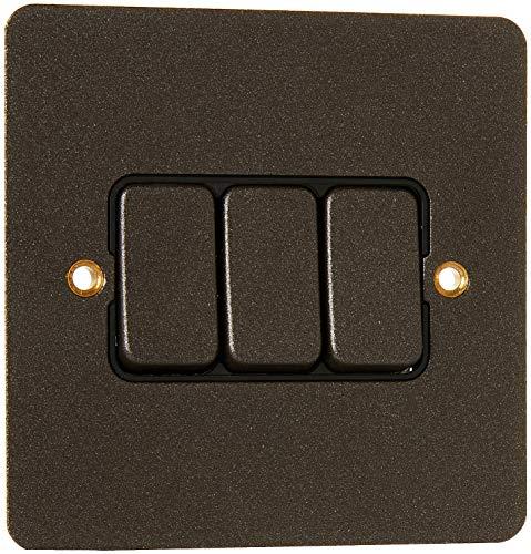 MK Edge k14373tirb 10A 2-Wege-Triple Switch Single Pole-Strukturierte Eisen -