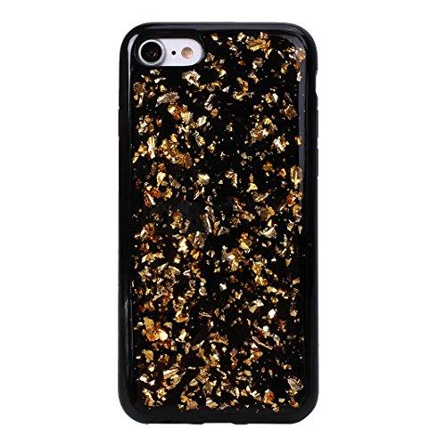 iPhone 7/8 Schale Glitter Case, iPhone 7 Glitter Case, iPhone 8 Glitter Case, Moon mood® Ultra Slim Thin 3D Bling Strass Hülle Gliter Handytasche Kristall Schutzhülle für Apple iPhone 7/8 4.7 Zoll TPU Gold