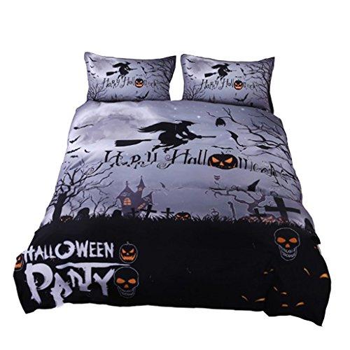 Sharplace 4 pezzi lenzuolo biancheria da letto modello halloween con federa copripiumino casa arredamento - 1#