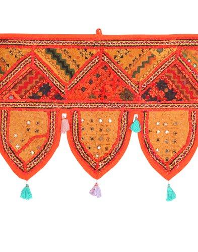 Esclusivo cotone Toran marrone Specchio lavoro tradizionale Con Rajrang