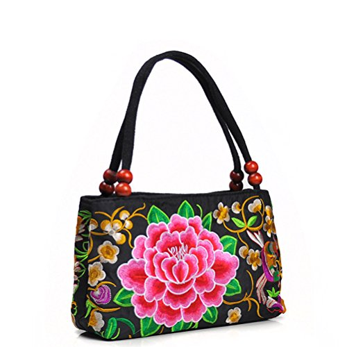 Tinksky Women's Vintage Shoulder Bag Embroidery Peony Flower Embroidered Handbags with Wooden Beads