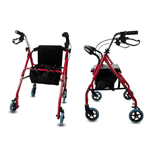 51wadvDwOvL - Andador para ancianos, Aluminio, Plegable, Frenos en manetas, Asiento y respaldo, 4 ruedas, Sinagoga, Mobiclinic
