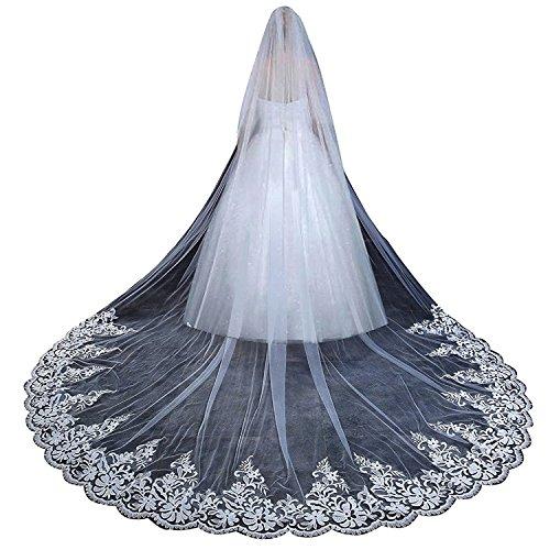Edith qi 1 Schicht Applizierte Spitze Silber Innen Pailletten Perlen Rand, Mantilla Kathedrale Hochzeit Schleier, langen Hochzeit Accessoires, weiße Elfenbein, über 300cm (Applizierte Spitze)