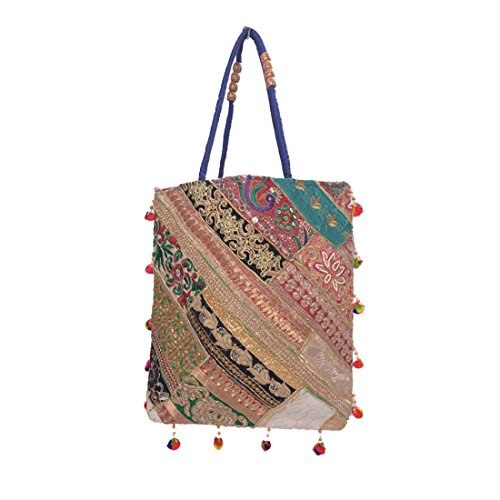 Ruff Indian Traditional Antique Handwork Hand Embroidered Shopping Bag Shoulder Bag Hobo Bag Sling Bag Purse Multicolour Handmade bag/clutch hastkala Ethnic Womeniya Handbag  available at amazon for Rs.349