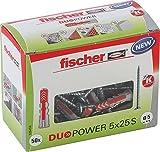 fischer DUOPOWER 5 x 25 - Universaldübel mit Schraube für eine Vielzahl von Baustoffen - Allzweckdübel für Bilder, Dekoration, Kabelkanäle uvm. - 50 Stück - Art.-Nr. 535458