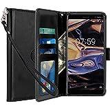 Nokia 7 Plus Funda, LK Carcasa Cubierta Cuero Billetera Case Flip Cover Con Ranuras de Tarjeta - Negro