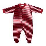Living Crafts Baby/Kinder Frottee-Schlafanzug Bio-Baumwolle Cherry/White Striped 86