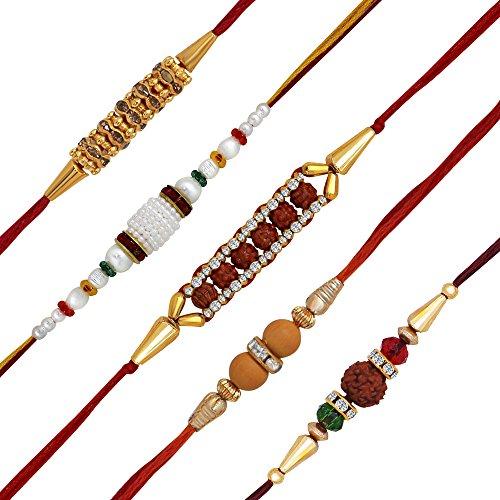 Om Jewells Gold Plated Set Of 5 Elegant Rakhis For Boys/Men_Co1000155