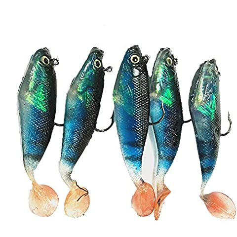 Bestok Fishing Lures Soft Baits Bass 3D Eyes Life-like Lures Spinner Fishing Tackle with Sharp Treble Hook