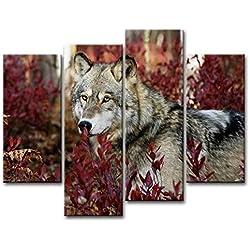 MOXO lobo en rojo hierba Prints lienzo Wolf Forest Wild Animal Lobo de pintura de cuadros en lienzo foto 4pcs enmarcado