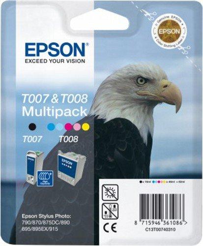 Epson T007 + T008 Twin Pack Cartouche d'encre d'origine 1 x noir, couleur (cyan, magenta, jaune)