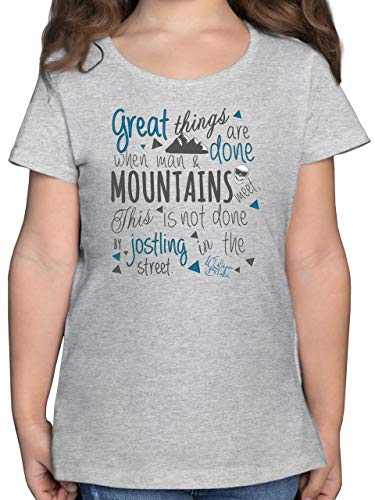 Up to Date Kind - Great Things Happen Mountain - 164 (14/15 Jahre) - Grau meliert - F131K - Mädchen Kinder T-Shirt -