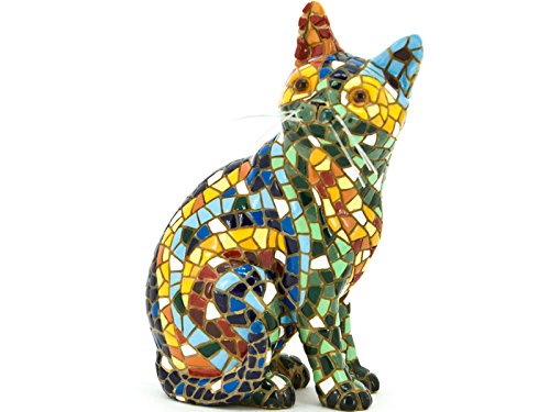 Cat Sitting Figurine Multicolor in Mosaic of the Collection Trencadis Antonio Gaudí
