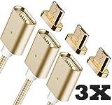 Qprods - Magnetische USB Ladekabel DatenKabel. Netzteil Adapter High Speed Sync mit LED Statuseinzeige. MicroUSB für alle Android Smart Handys Smartphones. Samsung, LG, Motorola, Nexus, Sony usw. 1 Jahr Garantie. Gold. 100 CM. Packung von 3