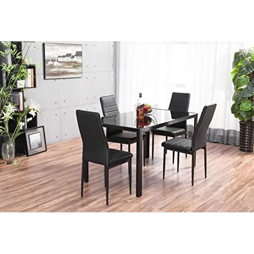 Furniturebox UK Roma Designer Rectangle Glass Dining Table Set and 4 Black Montero Faux Leather Chairs Seats