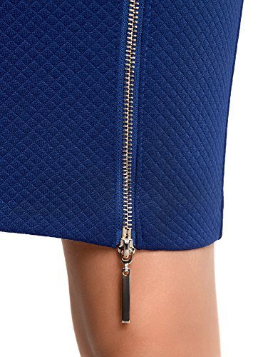 oodji Ultra Damen Bleistiftrock mit Metallreißverschluss Blau (7501N)
