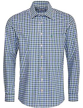 Almsach Trachtenhemd Ederl Regular Fit Mehrfarbig in Blau und Dunkelgrün Inklusive Volksfestfinder
