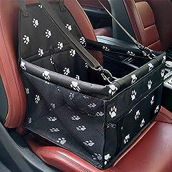 Gspirit Tragbare Tragetasche Haustier Tasche Hundetragetasche Katzen Tasche Sitzerhöhung Mesh Einseitig Deluxe Faltbare Autos Reisetasche für Haustiere Rücksitz (Schwarz)