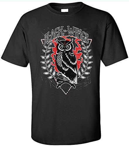 PAPAYANA - BLACK-WINGS - Herren T-Shirt - ROCKER BIKER CLUB SKULL DEAD Schwarz