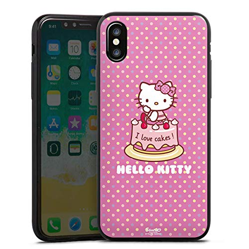 DeinDesign Apple iPhone XS Slim Case schwarz Silikon Hülle Ultra dünn Schutzhülle Hello Kitty Merchandise Fanartikel I Love Cakes