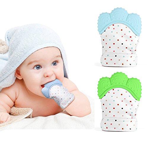 2 Stück Baby Zahnen Handschuh für Babys selbst beruhigende Beißring & Zahnen Schmerzlinderung Spielzeug (1 * Blau + 1 * Grün)