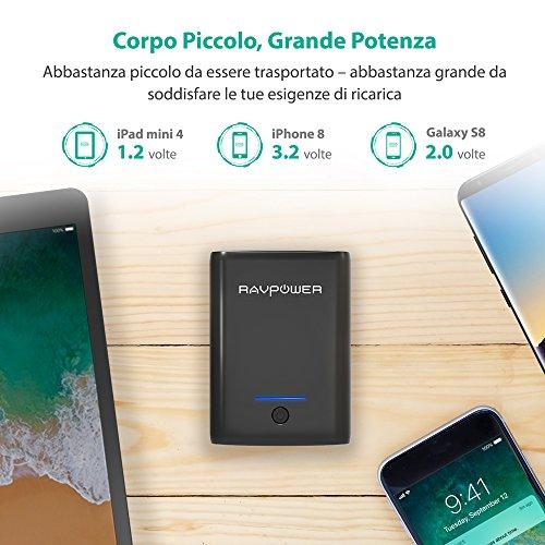 Caricatore-Portatile-RAVPower-10000mAh-Power-Bank-Batteria-Compatta-da-10000-con-Potenza-34A-Elevata-Velocit-Ricarica-Due-Porte-USB-iSmart-20-Caricabatteria-Portatile-per-Smartphone-e-Tablet