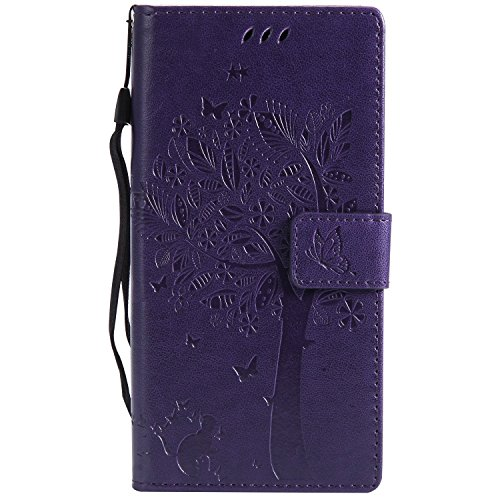 Chreey Huawei Mate 10 Pro Hülle, Prägung [Katze Baum] Muster PU Leder Hülle Flip Case Wallet Cover mit Kartenschlitz Handyhülle Etui Schutztasche [Lila]