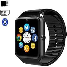 Reloj inteligente Android iOS (Bluetooth Smart Watch Phone con SIM Card Slot Cámara y Música