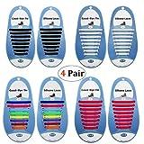 DmHirmg No Tie Shoelaces para niños y Adultos, Cordones de Silicona elásticos Impermeables para Zapatillas de Deporte, Zapatos Casuales, Botas de ACXOPT