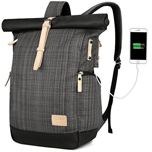 Laptop Rucksack Damen Herren, Roll Top Rucksack mit USB fur 15.6 Zoll Notebook, Anti-Theft Tasche Daypack Mode Rucksack Frauen, Wasserabweisend Schulrucksack Mädchen Teenager Schulranzen Jungen