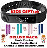 Fitness Tracker für Kinder von Trendy Pro, Smartwatch, Activity Tracker, mit 2 Armbändern, Kinder, Black and Color Band (Deluxe Purple), Deluxe