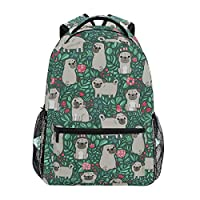 Linomo Lovely Pug Dog Pattern Backpack Daypack Camping Hiking Travel Bookbag School Shoulder Bag for Kids Boy Girl