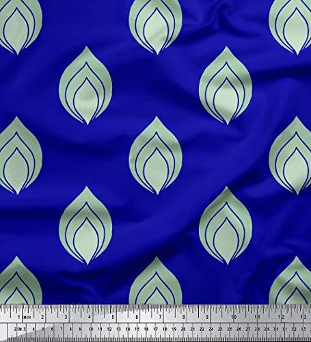 Soimoi Blau Seide Stoff Blätter kunstlerisch Stoff Drucke Meter 42 Zoll breit