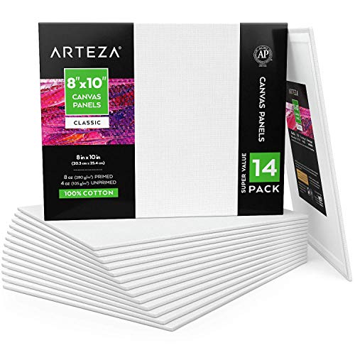 ARTEZA Malkarton, 20.3cm x 25.4cm Großpackung mit 14, weiße grundierte 100{de38b2dafacbda36fde4e657d3598abe49b80139fd625764625b079c2886fc0d} Baumwolle, Leinwand-Panele für Malerei, Acrylgießen, Ölfarben & nasse Kunstmedien, Malpappe für Profis & Hobbymaler