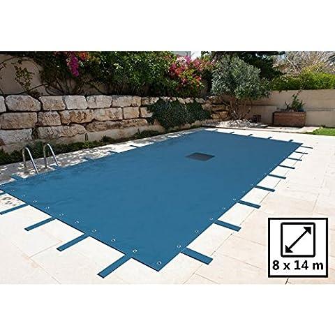 8x 14m rectangular cubierta de la piscina–azul marino–140g/m², con drenaje rejilla