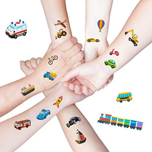 Oblique Unique® 36 Bunte Fahrzeuge als temporäre Tattoos für Kinder Jungen Geburtstag I Bagger Auto Boot Schiff Rakete (Zug Tattoos Temporäre)