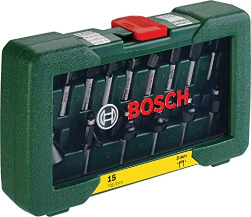 Ansicht vergrößern: Bosch 15tlg. Fräser Set (Holz, Zubehört für Oberfräsen mit 8 mm Schaft)
