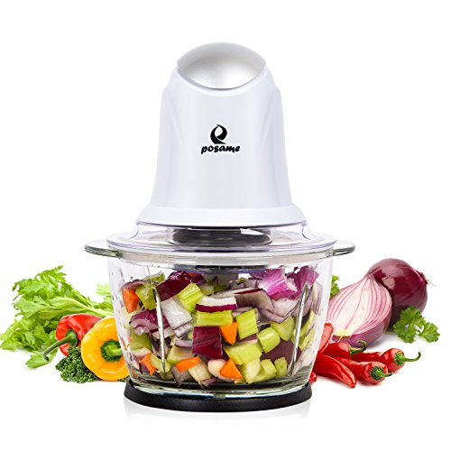 POSAME Elektrisch Universalzerkleinerer, Multi-Zerkleinerer, schneider, Fleischwolf, Küchenhelfer für Obst und Gemüse mit 2 Edelstahl Messer (Standard 304, Lebensmittelqualität) und 1L Glasbehälter