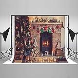 KateHome PHOTOSTUDIOS 2,2x1,5m Weihnachten Backdrops Weihnachten Kamin Hintergrund Weihnachtsfeier Dekoration Booth Requisiten