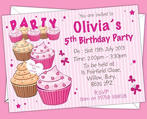 Personalised Kids/Children's Cup Cake Print Themed Birthday Party Invitations, any age can be added (Design Code: BK 008) (Pack of