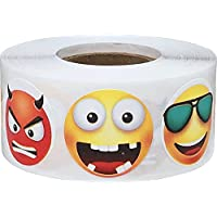 Popular Messaging Emoji Emoticons 6 Different Faces Circle Stickers, 25 mm 1 Inch Round, 500 Labels on a Roll
