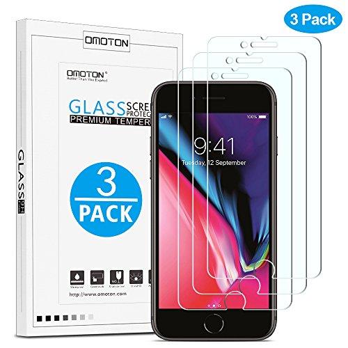 OMOTON [3 Stück] Schutzfolie für iPhone 8 Plus/iPhone 7 Plus [5,5 Zoll], 9H Härte, Anti-Kratzer, Anti-Öl, Anti-Bläschen